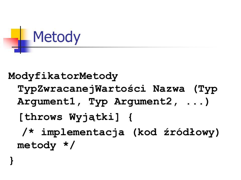 Metody ModyfikatorMetody TypZwracanejWartości Nazwa (Typ Argument1, Typ Argument2, ...) [throws Wyjątki] {